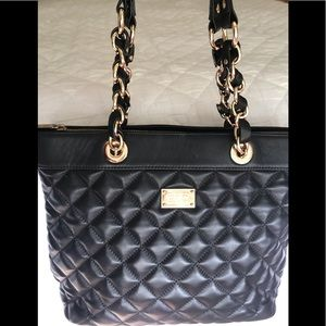 St. John Quilted Black Leather Tote Bag